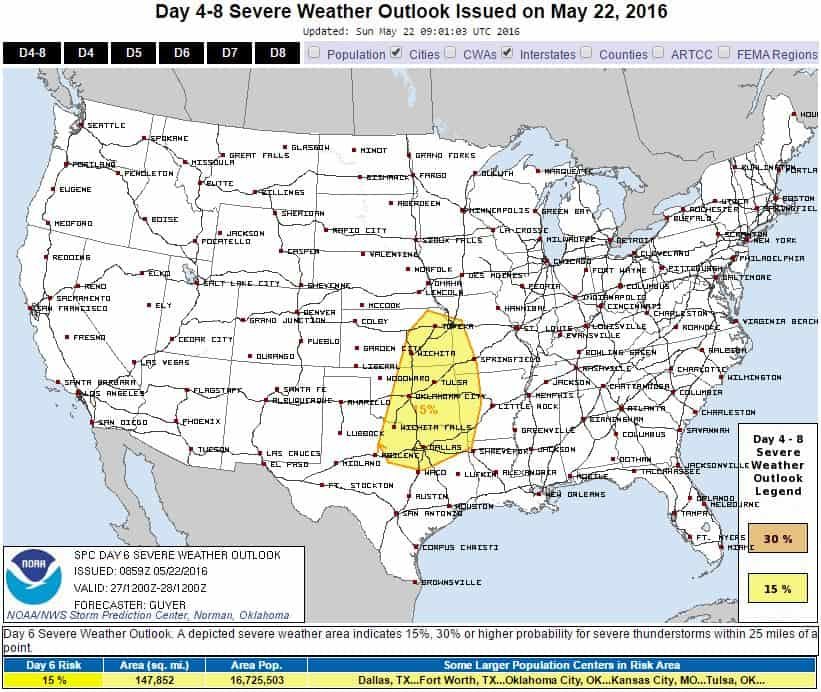 SPC Severe Weather Risk - Friday