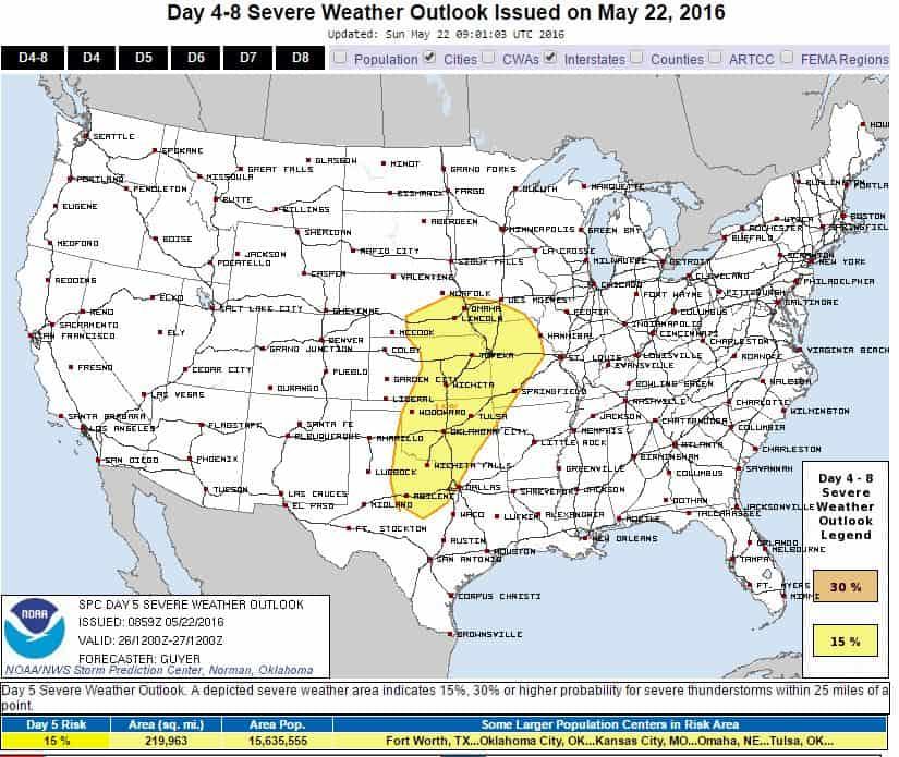 SPC Severe Weather Risk - Thursday