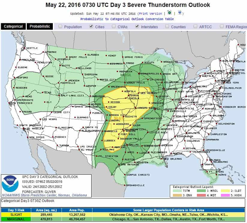 SPC Severe Weather Risk - Tuesday