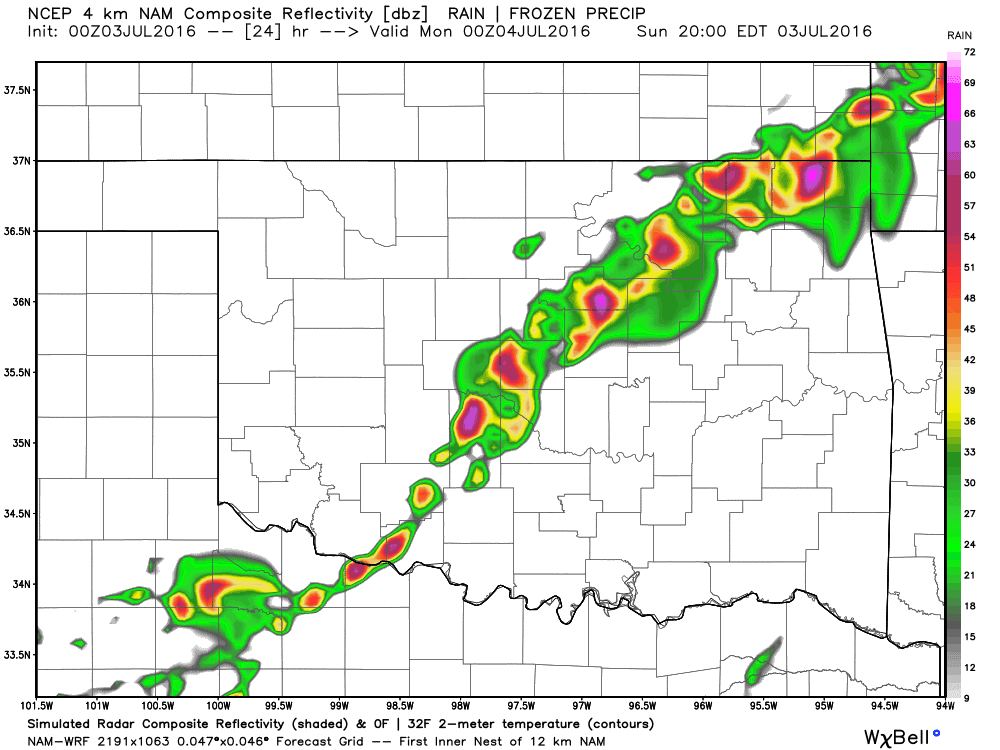 Storms develop after 5pm along cold front Sunday.