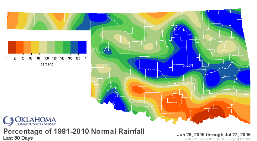Percentage of normal rainfall.
