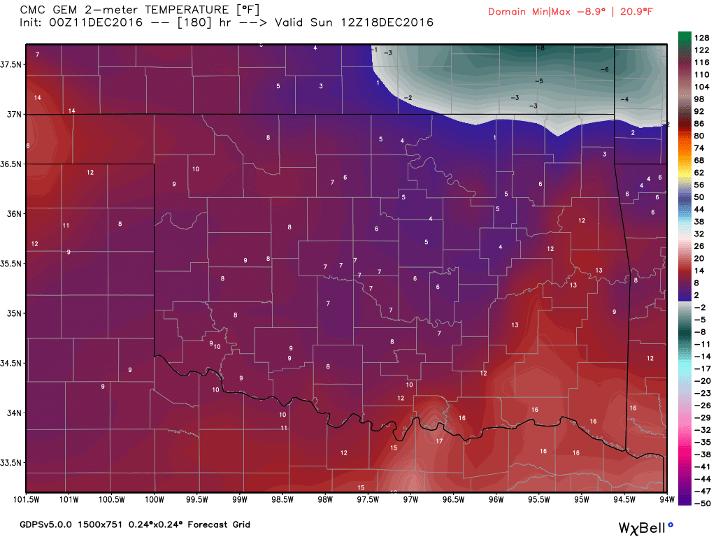 Temperatures expected on Sunday morning, 12/18.