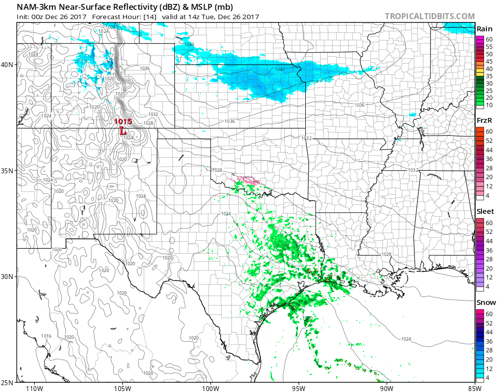 Ice and Snow in the Morning, Virga Snow Christmas Day, and More Ice Coming Tuesday
